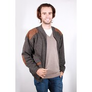 Aklanda 7417 Men's Zip Cardigan With Suede Patches & Pockets