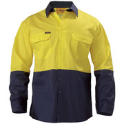 Bisley BS6895 2 Tone Hi Vis Cool Lightweight Mesh Ventilated Drill Shirt - Long Sleeve