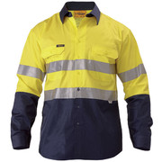 Bisley BS6896 2 Tone Hi Vis Cool Lightweight Gusset Cuff Shirt 3m Reflective Tape - Long Sleeve