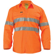 Bisley BS6897 Cool Lightweight Gusset Cuff Hi Vis Shirt 3m Reflective Tape - Long Sleeve