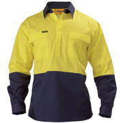 Bisley BSC6267 2 Tone Closed Front Hi Vis Drill Shirt - Long Sleeve