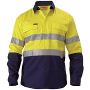 Bisley BT6456 2 Tone Hi Vis Shirt 3m Reflective Tape - Long Sleeve
