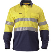 Bisley BTC6456 2 Tone Closed Front Hi Vis Drill Shirt 3m Reflective Tape - Long Sleeve