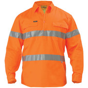 Bisley BTC6482 Hi Vis Closed Front Drill Long Sleeve Shirt 3m Reflective Tape