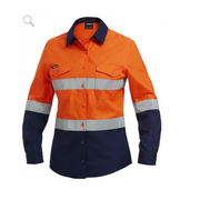 King Gee K44544 Womens Workcool 2 Hi-Vis Reflective Spliced Shirt L/S