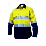 King Gee K54325 Hi-Vis Closed Front Drill Shirt L/S
