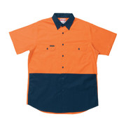 Hard Yakka Y07559 Koolgear Hi-Visibility Two Tone Cotton Twill Ventilated Shirt Short Sleeve