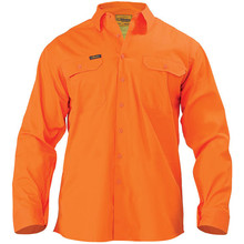 Bisley BS6894 Cool Lightweight Gusset Cuff Hi Vis Drill Shirt - Long Sleeve