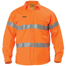 Bisley bt6482 hi vis drill long sleeve shirt 3m reflective for Hi vis shirts with reflective tape