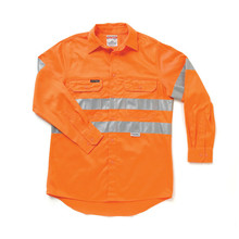 Hard Yakka Y07227 Hi-Visibility Cotton Drill Shirt with 3M Tape Long Sleeve - Hoop